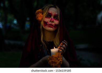 DAY OF THE DEATH DIA DE LOS MUERTOS CATRINA SKULL GIRL