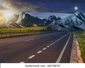 Day and night change Travel destination concept image. Composite landscape of High Tatra mountain ridge. Straight asphalt highway through green hills leads to high peaks.