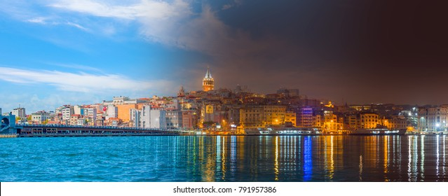 Day and Night Concept - Galata Tower, Galata Bridge, Karakoy district and Golden Horn at morning, istanbul - Turkey