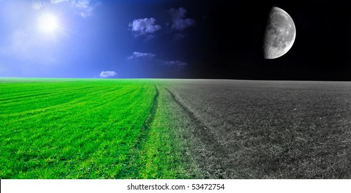 Day and night conceptual image. Green field in day and night.