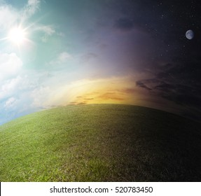 Day to night landscape. scene on globe the meadow path with sun, stars and moon - nobody