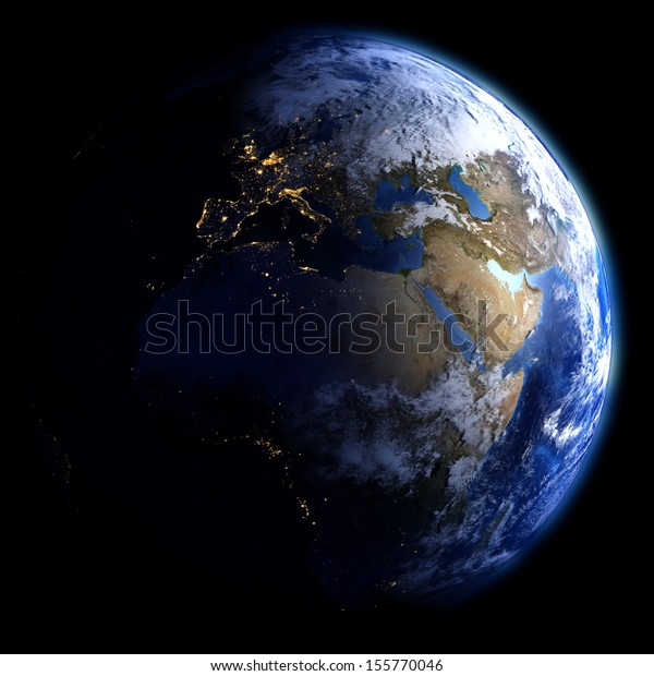 Day and night on planet Earth. Elements of this image furnished by NASA. Other orientations available.