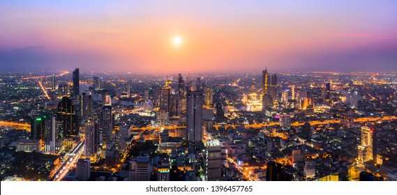day to night rooftop view from mahanakhon skywalk, office buildings, living, condominium in bangkok city skyline top view Downtown and business office bank financial in capital city of thailand asian