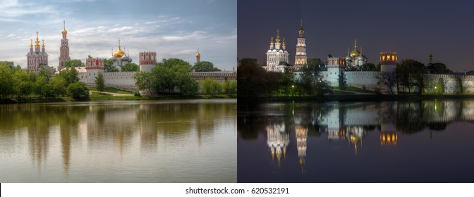 Day and night series: Novodevichy Convent (also known as Bogoroditse-Smolensky monastery), Moscow. This is two high dynamic range (HDR) photos of same location from same point of shoot.