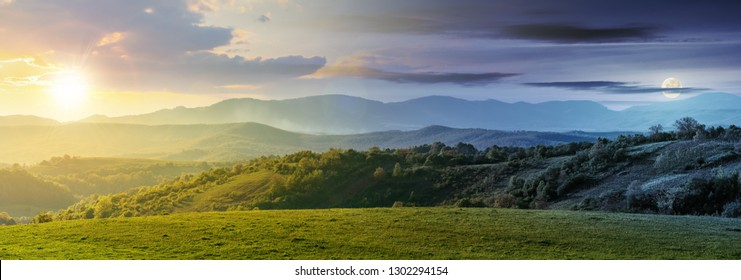 day and night time change above panorama of romania countryside. wonderful springtime landscape in mountains with sun and moon. grassy field and rolling hills. rural scenery