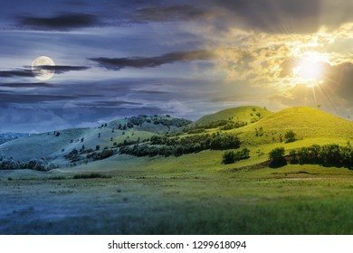 day and night time change concept above three hills in summer landscape. beautiful countryside scenery with sun and moon.  tilt-shift and motion blur effect applied.