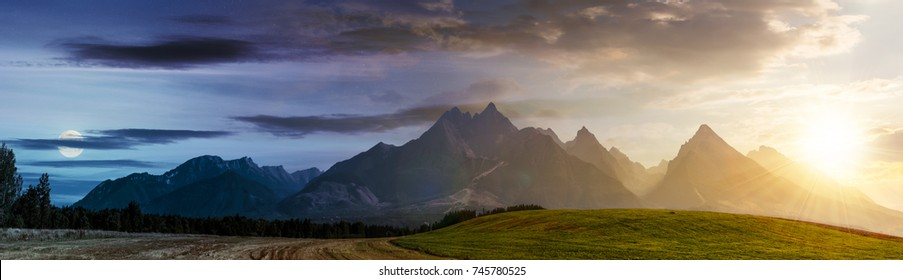 day and night time change concept over rural area in Tatra Mountains. beautiful panorama of agricultural area. gorgeous mountain ridge with high rocky peaks with sun and moon