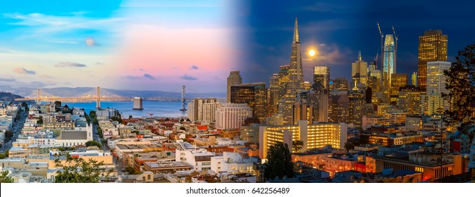 Day to night timelapse timeslice panorama of downtown San Franciso with full moon