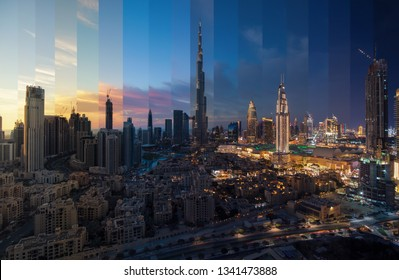 Day to night transition montage from the skyline Dubai Downtown