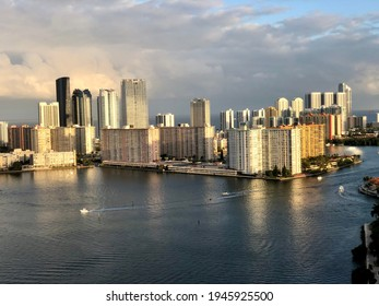 Day and night views of Sunny Isles Beach skyline, luxury oceanfront high-rise developments, the Atlantic Ocean, Intercoastal Waterways from Penthouse 4 at Bella Mare in Williams Island, Aventura