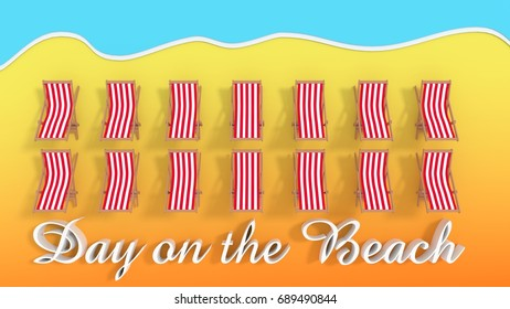 Day on the beach - Beach with rows of Beach chairs - 3d rendering