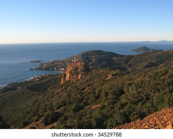 The day rises on the solid mass of Esterel, VAr, France