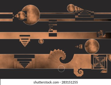 The day that the Moon left the Earth,traveled through space and placed in an orbit that allowed life,following the laws of gravity force,copper colors degraded, Abstract expressionist illustration