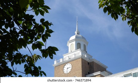 Day time exterior establishing shot of clock tower steeple above generic building. Scene for church, hotel, or high class real estate building. Blue sky overhead shot through blowing trees