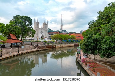 Day time view of the old town of Malacca city and the Malacca river. It is a UNESCO World Heritage Site in Malaysia