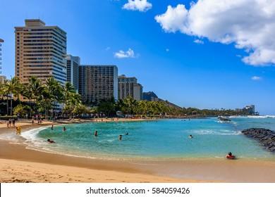 Day time view of Waikiki Beach and Diamond Head in Honolulu in Hawaii, USA