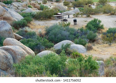 Day use picnic area at Horsemen's Center Park in the Town of Apple Valley, California, in the Mojave Desert.