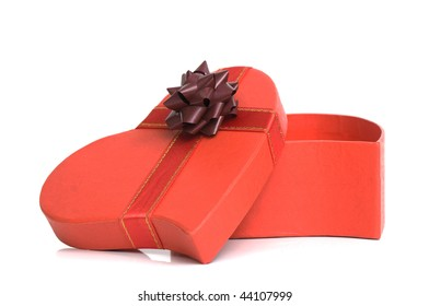 Day valentine present with ribbon and box shaped as hear