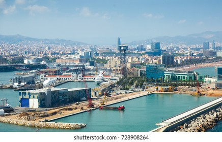 Day view of Barceloneta from sea side. Barcelona, Spain. It is the oldest and largest port of city