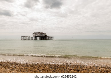 Day view of Brighton Pier after fire