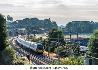 Day view landscape British train on Railroad