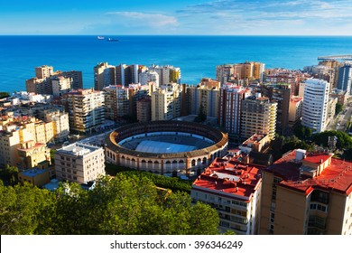 Day view of Malaga with  Placa de Torros from castle.  Andalusia, Spain