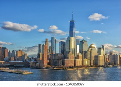 Day view of Manhattan from Hudson river