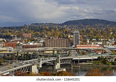 Day view of Portland, Oregon Morrison Bridge and east side city
