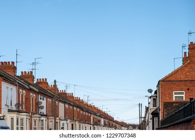 day view row of typical english houses in northampton