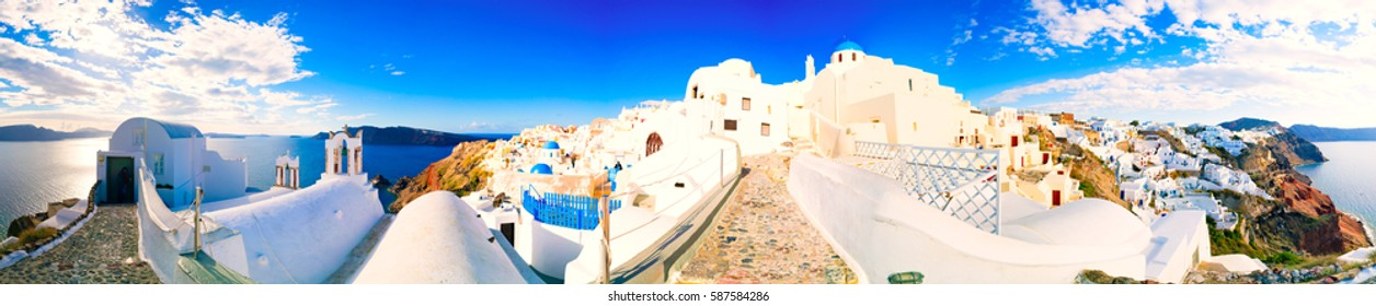 Day view in Santorini. Panorama, Oia Village, Greece