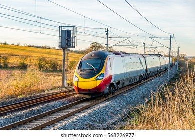 Day view of UK Railroad in England. Railway landscape.
