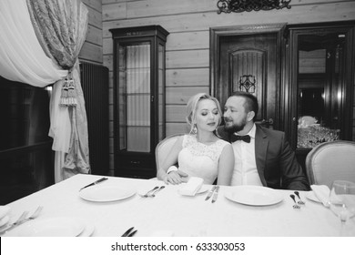 The day of the wedding. sensual happy couple in restaurant