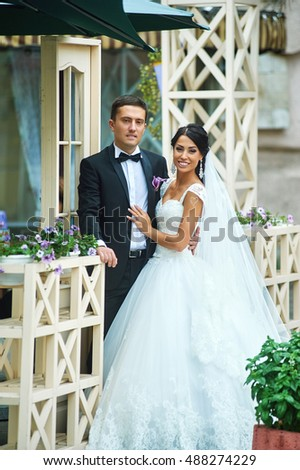 Day Wedding Young Romantic Couple Poses Stock Photo Edit Now