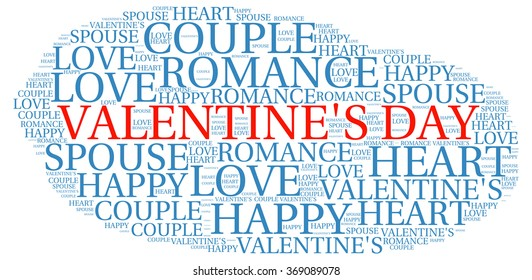 VALENTINE'??S DAY. Word collage on white background. Illustration with different association terms.