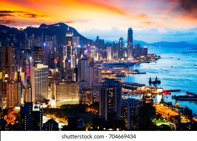 Day2Night scene on Braemar hill a destination viewpoint to observe Victoria Harbour, Hong Kong