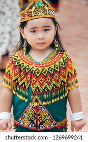 a dayak child who was attending a traditional program at the governor's office in the city of samarinda, East Kalimantan province on 5 November 2017