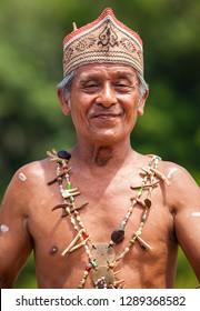 Dayak Tribe People,  photograph was taken  in Januari 2019 at Dayak Tribe Ceremonial,  South Kalimantan,  Indonesia