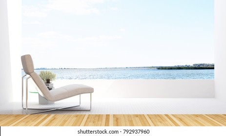 daybed on terrace and lake view in hotel - Simple design - 3D Rendering