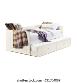 Daybed with Underbed Trundle Isolated on White Background. Contemporary White Bed with Linen