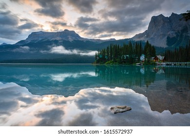 Daybreak at the beautiful Emerald Lake, Yoho National Park, British Columbia, Canada