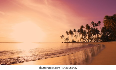 Daybreak on isle. Orange sun rises from the sea fond. Idyllic coastline reflected in surf of Amazing Isle. Orange daybreak background over the sea. Asian tranquil outdoor landscape. Daybreak on shore