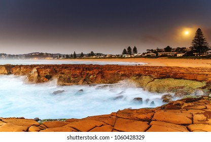 Daybreak Seascape with Full Moon - Capturing the sunrise from North Avoca Beach on the Central Coast, NSW, Australia.
