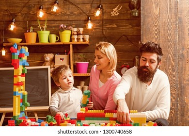 Daycare concept. Little child play daycare game with mother and father. Daycare preschool. Family daycare.