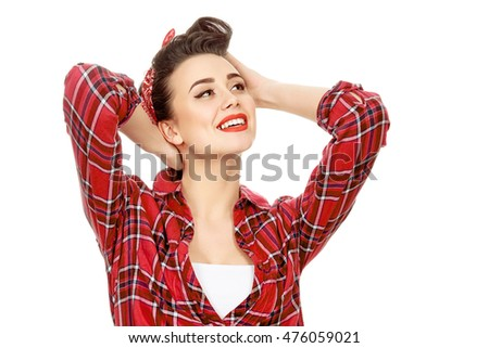 Daydreaming Shot Gorgeous Brunette Retro Hairstyle Stock Photo Edit
