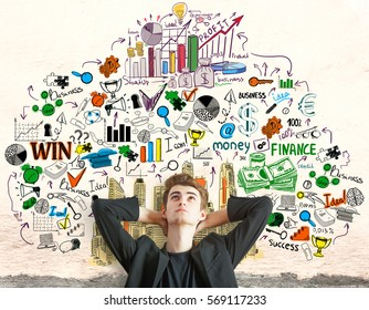 Daydreaming young businessman thinking about success on concrete background with creative business sketch