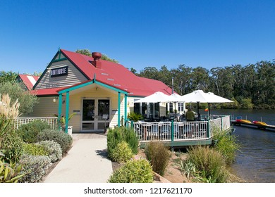 Daylesford, Australia: March 23, 2018: The Boat House Restaurant and Coffee Shop in Daylesford is a popular refreshment establishment on the banks of Lake Daylesford.