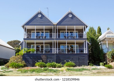 Daylesford, Australia: March 23, 2018: Holiday apartments overlooking the lake in Daylesford - Australia.