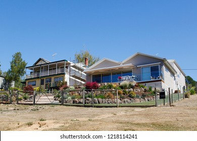 Daylesford, Australia: March 23, 2018: Large detached house with garden fence and verandah in the small town of Daylesford - Australia.