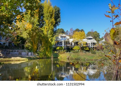 Daylesford, VIC/Australia-April 24th 2016: holiday houses on lakeside.