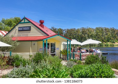 Daylesford, VIC/Australia-Dec 12th 2016: Boathouse Daylesford restaurant with people enjoy food and drinks at waterfront terrance.